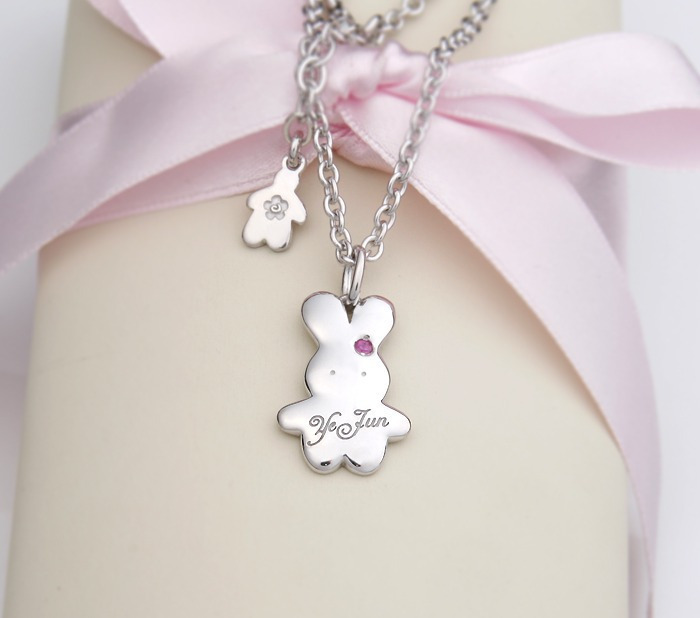 silver rabbit pendant necklace for babies
